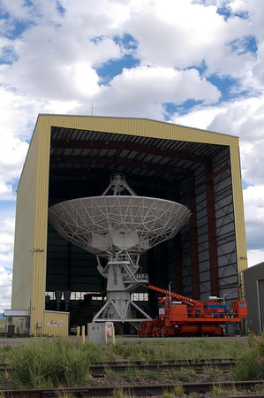 The rotating 28th antenna of the array, undergoing routine maintenance in the Antenna Assembly Building.